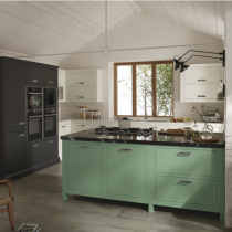 Flat door kitchen, large handles, oven bank, green island.