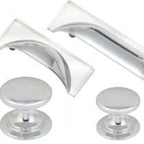Windsor Polished Chrome Cup Handle & Knob Collection available in a varied sizes