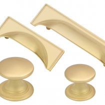 Windsor Satin Brass Cup Handle & Knob Collection available in selection of sizes