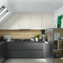Handleless U shaped Kitchen in a dormer space