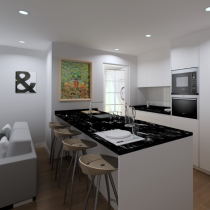 Handleless Kitchen, white with black worktops