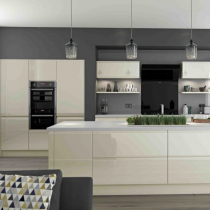High Gloss Contemporary Kitchen Handleless large Island.