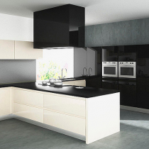 High Gloss Handleless Kitchen, Black bank of units, White Island, Ceiling Extractor