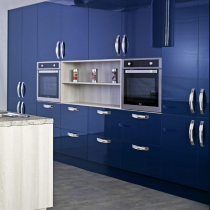 High Gloss Kitchen, Blue bank of units, Island, Large Feature Handles.