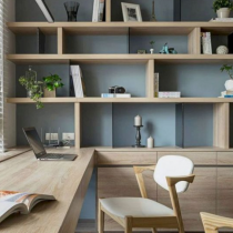 Home Library idea contemporary desk, shelving and storage