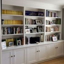 Home Library idea, classical style, shelving and cabinet storage, shaker doors