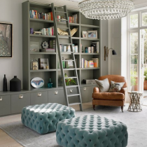 Home Library idea, contemporary style, tall shelving with ladder, floor level cabinets for additional storage