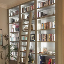 Home Library idea, tall shelving with ladder, floor level cabinets, lighting systems