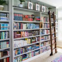 Home Library idea, tall contemporary shelving with ladder