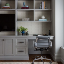Home office idea, TV stand, desk, shelving and storage
