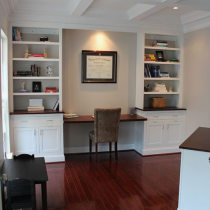 Home office idea classical white shaker shelving and storage