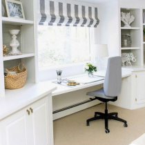 Home office idea classical white shaker style, shelving and storage