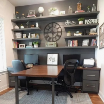 Home office idea contemporary double desk, meeting table, shelving and storage