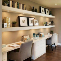 Home office idea contemporary double desk,shelving and storage