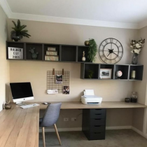 Home office idea contemporary long desk, shelving and storage