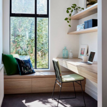 Home office idea, contemporary desk, shelving and bench seat storage