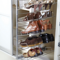 Wardrobe pull out shoe storage rack