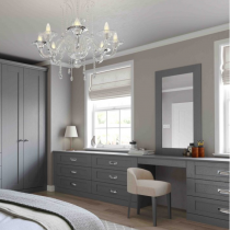 Wardrobe Shaker door with drawer systems, dressing table, framed mirror, headboard and lockers