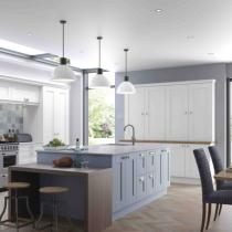 Shaker style kitchen, large island, low additional seating, larder bank of units