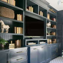 TV Stand idea, classical design, shaker doors, shelving and storage