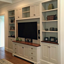 TV Stand idea, classical design, shaker with shelving and storage