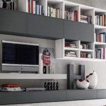 TV Stand idea, contemporary, shelving.