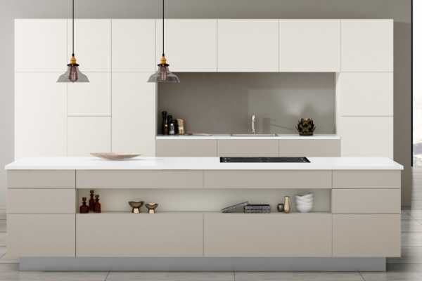 Handleless Kitchen, White, Large Island, Storage