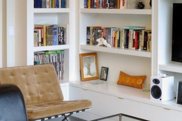 Home Library idea, shelving, storage and television stand in a classical design