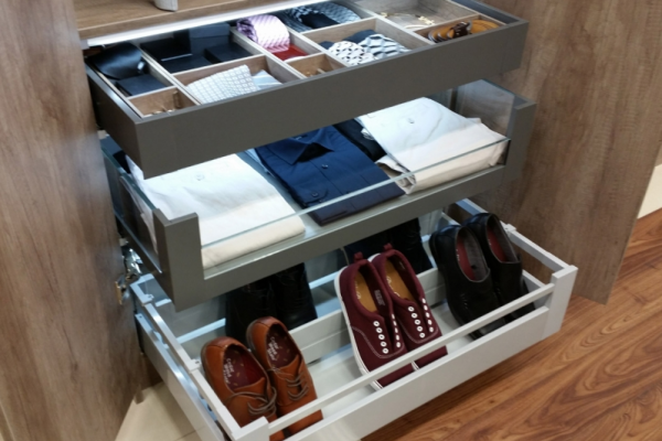 Wardrobe individual pull outs for shoes and clothing storage