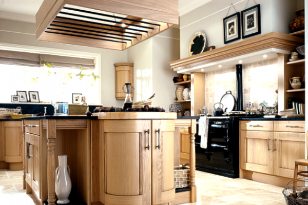 Solid wood kitchens in their natural colours.